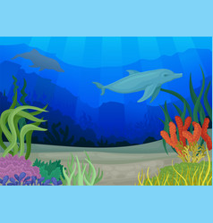 Dolphins and underwater world seascapes concept vector