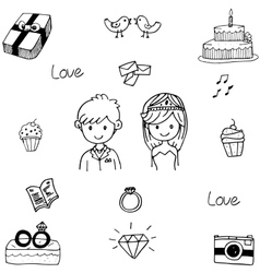 Doodle element wedding party vector