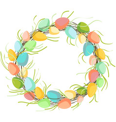 easter wreath with eggs hand drawn on white vector image