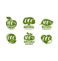 eco label or logo set of healthy natural organic vector image