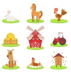 Farm Associated Animals And Objects Collection vector image vector image