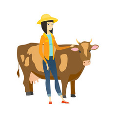 Farmer standing with crossed arms near cow vector