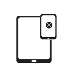 Flat icon in black and white connected tablet vector