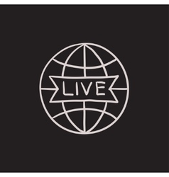 Globe with live sign sketch icon vector image