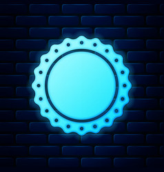 glowing neon quality emblem icon isolated on brick vector image