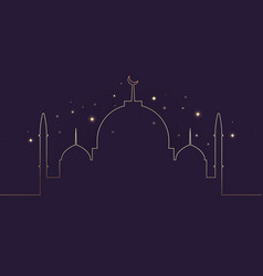 gold traditional islamic mosque outlines vector image