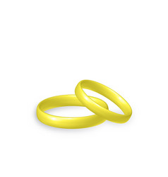 Gold wedding rings 3d objects vector