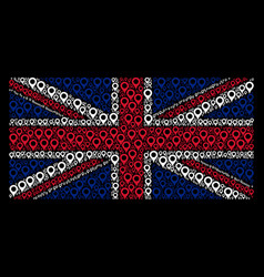 Great britain flag mosaic of map marker icons vector