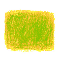 Green and yellow crayon scribble texture stain vector