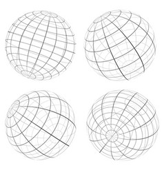 Grid wireframe spheres globes vector