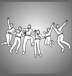 Group businessman jumping with gladness vector