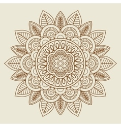 hand drawn floral rosette in vintage colors vector image