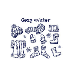 hand drawn winter set with clothes and handwritten vector image