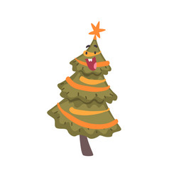 happy christmas tree cartoon character with star vector image