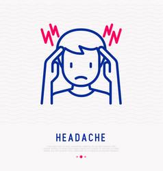 headache migraine thin line icon vector image