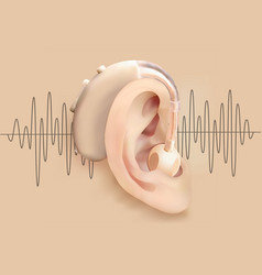 Hearing aid behind ear ear and sound amplifier on vector