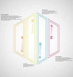 Hexagon infographic template divided to four color vector