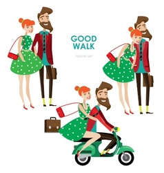 Hipster woman and man on scooter vector image