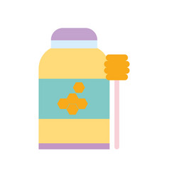 honey bottle with spoon design icon vector image