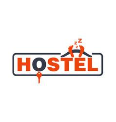 Hostel logo - bedroom key and sleeping character vector