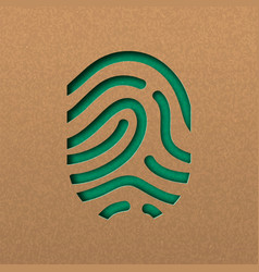Human fingerprint in green papercut style vector