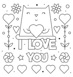 i love you coloring page of vector image