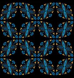 Indigo floral arabesque ornament seamless vector