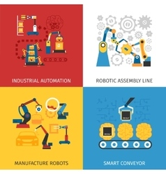 Industrial Assembly Line 4 Flat Icons vector