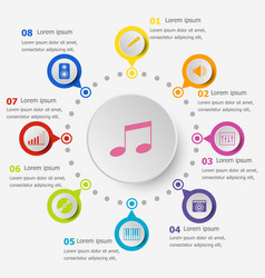 infographic template with music icons vector image