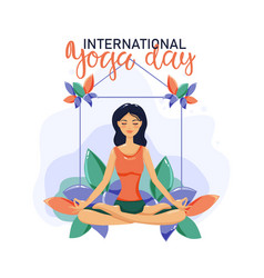 International yoga day 21 june yoga body posture vector