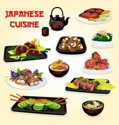 Japanese fish and meat dishes with salads and soup vector