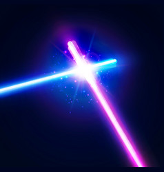 Laser sabers war glowing rays in space battle vector