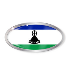 lesotho flag oval button vector image