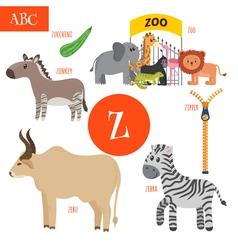 Letter Z Cartoon alphabet for children Zebra vector image
