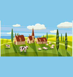 Lovely country rural landscape cow sheep grazing vector