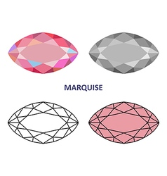 Marquise gem cut vector