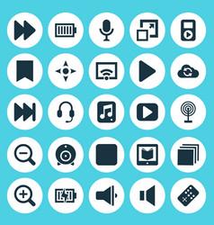 Media icons set collection of bullhorn arrow vector