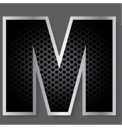 Metal grid font - letter M vector