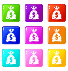 money bag with us dollar sign set 9 vector image