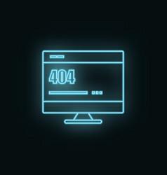 Monitor site 404 error neon icon web development vector