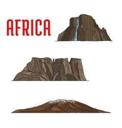 Natural travel landmarks of Africa icon thin line vector