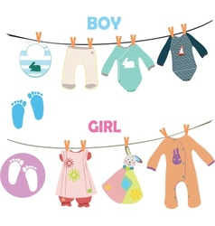 New baby boy and girl set for baby shower vector