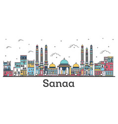 outline sanaa yemen city skyline with color vector image