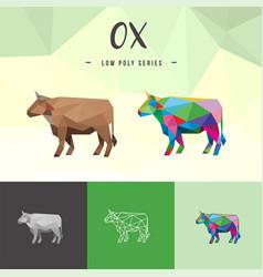 Ox buffalo chinese zodiac animals low poly pop vector