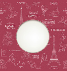 Paris romantic pattern with circle frame and empty vector