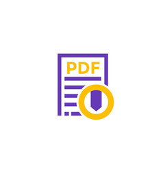 Pdf download icon on white vector