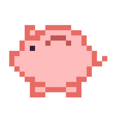 Piggy bank money pixel art cartoon retro game vector