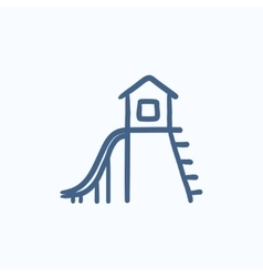 Playhouse with slide sketch icon vector