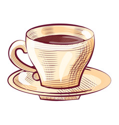 Porcelain cup coffee on saucer isolated sketch vector