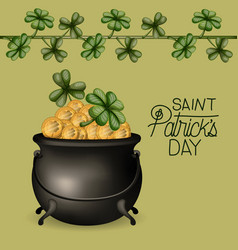 Poster saint patricks day with cauldron full of vector